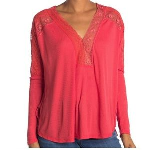 NWT Free People Lola Red Ribbed T-Shirt XS